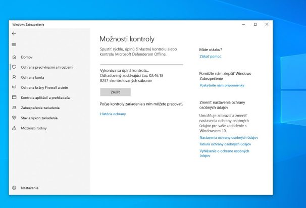 Windows Defender_moznosti kontroly