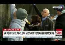 VP Pence helps clean Vietnam War memorial