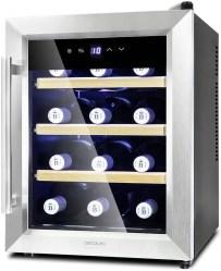 Cecotec Cave à vin Grand Sommelier 1200 CoolWood. Capacité pour 12 Bouteilles, Étagères en Bois et Technologie Montionless, 33 L de Capacité