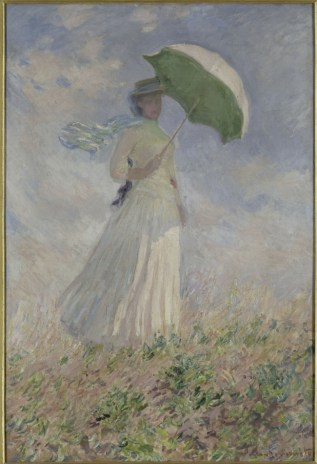 """""""Woman with a Parasol Turned to the Right"""" 1886 by Claude Monet. My grandmother had one of the prints in this series hanging in her house for many years. It was so nice to see it in person."""