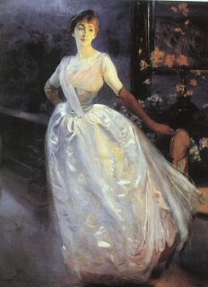 """""""Madame Roger Jourdain (Portrait of Mrs R. J...) """" 1886 by Albert Besnard. In person the dress of this woman glimmers and shines; it's really stunning."""