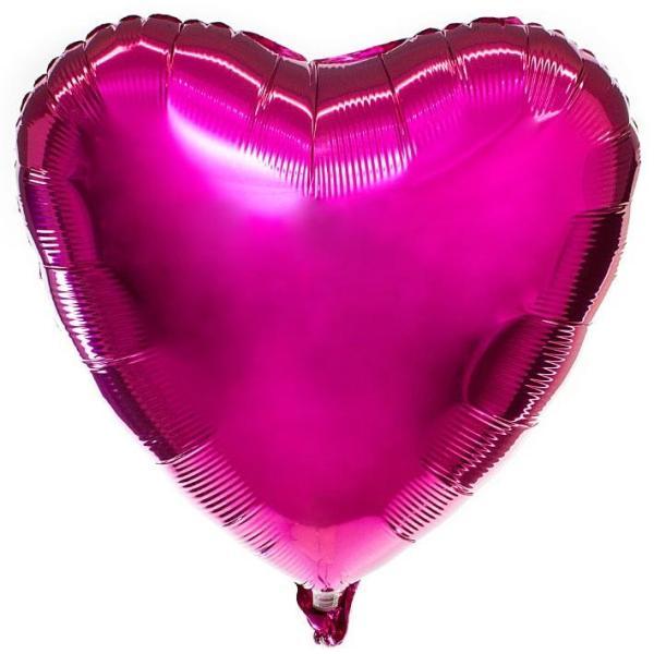Фольгированное сердце металлик фуксия