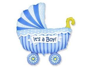 Фольгированная коляска детская голубая