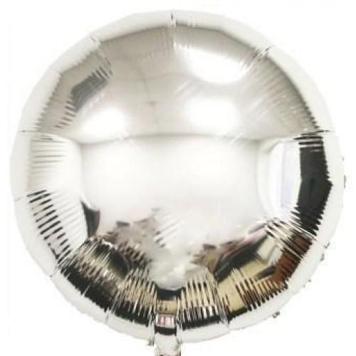 Фольгированные шары круги серебряный металлик