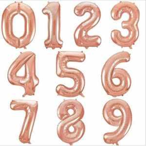 Цифры шары розовое золото