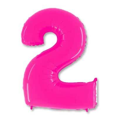 Цифра 2 Яркий розовый