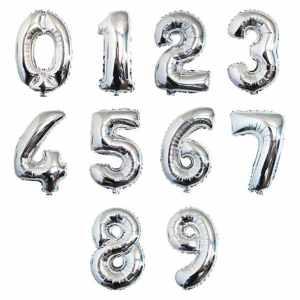 Цифры шары серебро