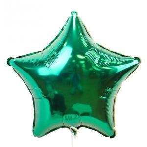 Фольгированные шары Звёзды металлик зеленый