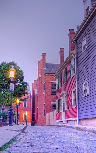 Charlestown's Street at Twilight