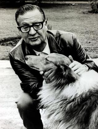 Politics, Chile, pic: December1970, Chilean President Salvador Allende pictured with his pet collie dog, Salvador Allende, (1908-1973) was a left wing politician and was President 1970-1973, in that year a CIA backed coup removed him from power (Photo by Rolls Press/Popperfoto/Getty Images)