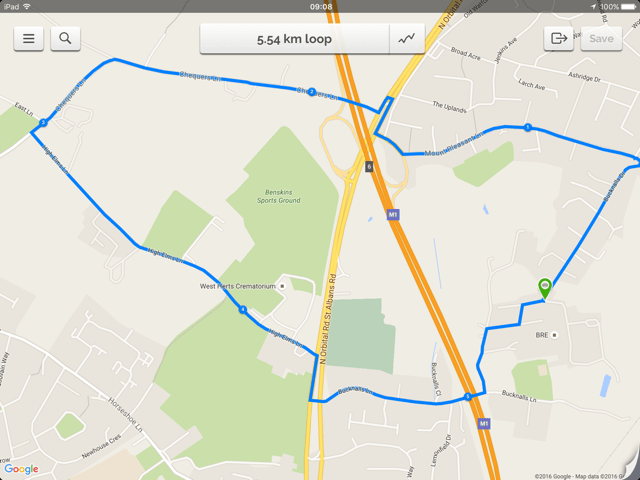 Route created in Footpath + Google Maps