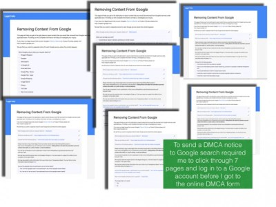 Google's convoluted web DMCA takedown form requires 8 steps