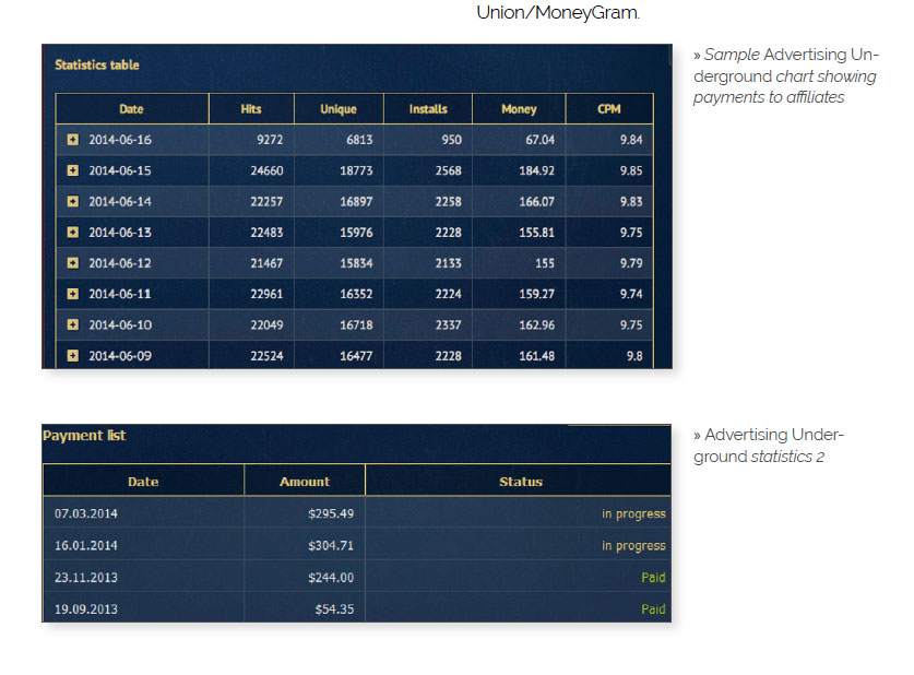 Malware affiliate earnings