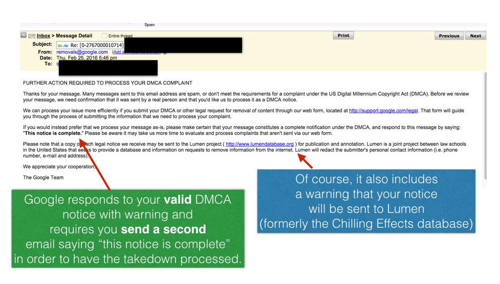 Google DMCA response