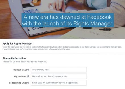 Facebook rights manager apply
