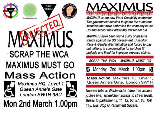 The leaflet advertising the anti-Maximus 'Mass Action' day.