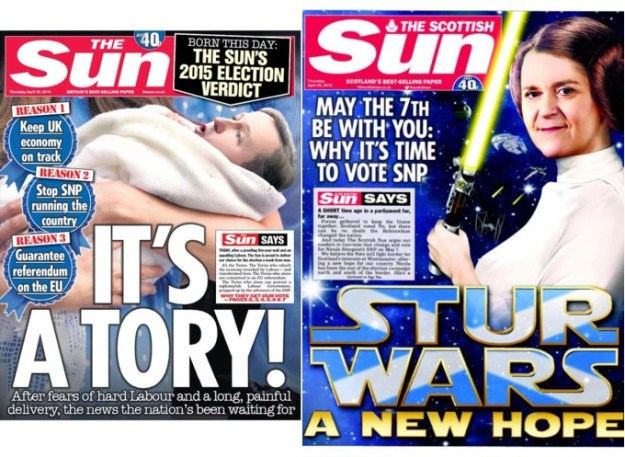 Media manipulation: The Sun, and the Scottish Sun, supported both the Conservatives and the SNP on the same day. Did it affect the results in Scotland and the rest of the UK?