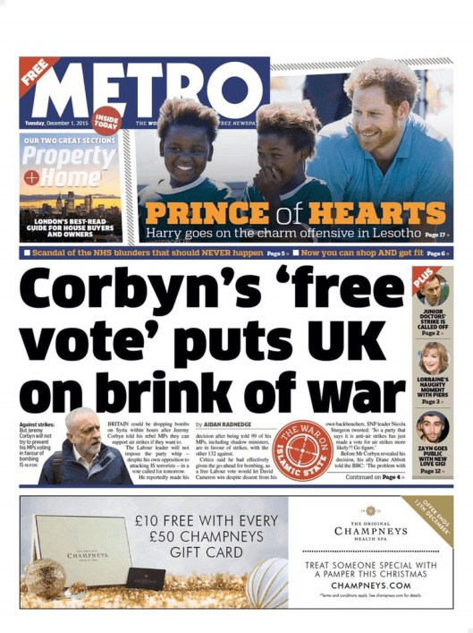 Rick Burin: Cameron wants us to go to war. Corbyn is voting against. And THIS is your headline?