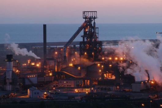 Port Talbot steelworks at night. It's a manufacturing plant so Conservatives haven't had the faintest idea how to keep it running.