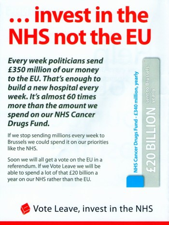 Vote Leave's misleading 'NHS' leaflet - even more so because so many of the group's leaders want to kill the NHS altogether.