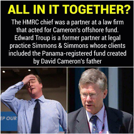 This infographic demonstrates the strength of feeling against David Cameron and all those who helped his family gain unfair tax advantages - including current HMRC chief Edward Troup.