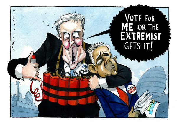 Extremist: Zac Goldsmith ran a hate campaign against his London mayoral opponent, Sadiq Khan. This Times cartoon nails it.