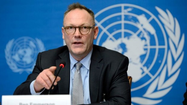 Ben Emmerson, UN Special Rapporteur on Counter Terrorism and Human Rights, speaks during a press conference in March 2014 about his annual report to the Human Rights Council on the use of remotely piloted aircraft, or drones, in extraterritorial lethal counter-terrorism operations, at the European headquarters of the United Nations, in Geneva, Switzerland [Image: AP Photo/Keystone,Martial Trezzini]. Why Jews News used this photograph is beyond the wit of This Writer.
