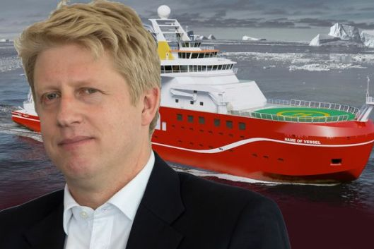 "The Mirror captioned this ""Votey McVolte-Face"" to mark the way Science minister Jo Johnson U-turned on the naming of a new Arctic science vessel."