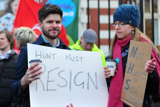 It seems unlikely these striking doctors are happy about Jeremy Hunt's record-breaking tenure [Image: Sean Hansford/MEN].