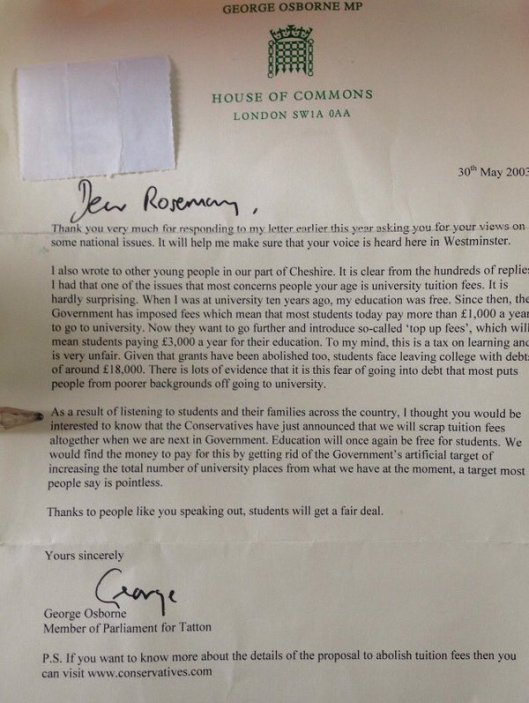 George Osborne's letter about tuition fees, written in 2003.