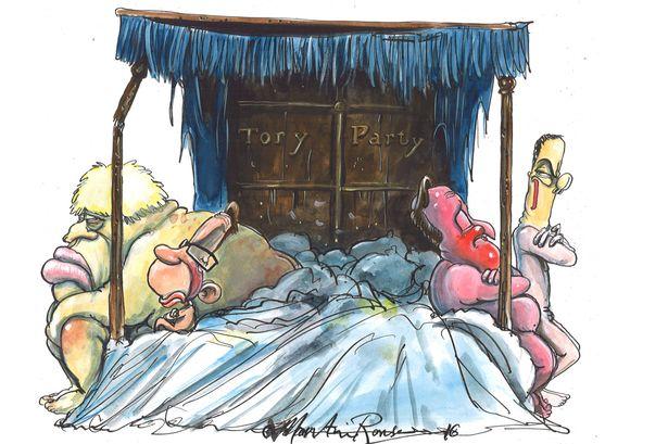 The EU referendum has split the Conservatives. Here's how cartoonist Martin Rowson describes it.