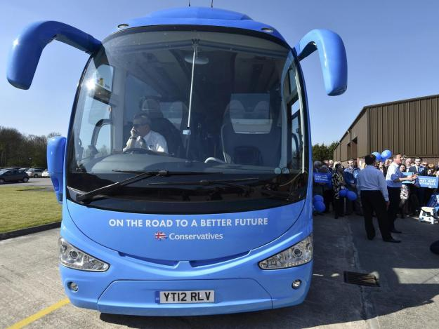 The Conservative's 'battlebus' transported young activists around the country during the election campaign [Image: Getty].