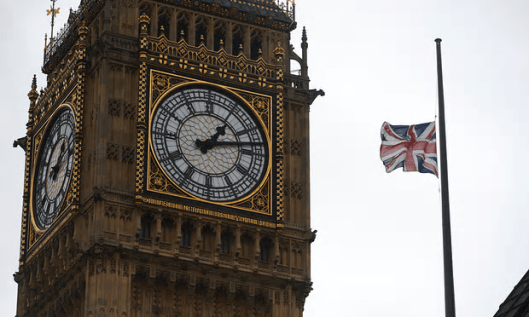 A union flag flies at half mast at the Houses of Parliament in honour of Labour MP Jo Cox. [Image: Niklas Halle'N/AFP/Getty Images].