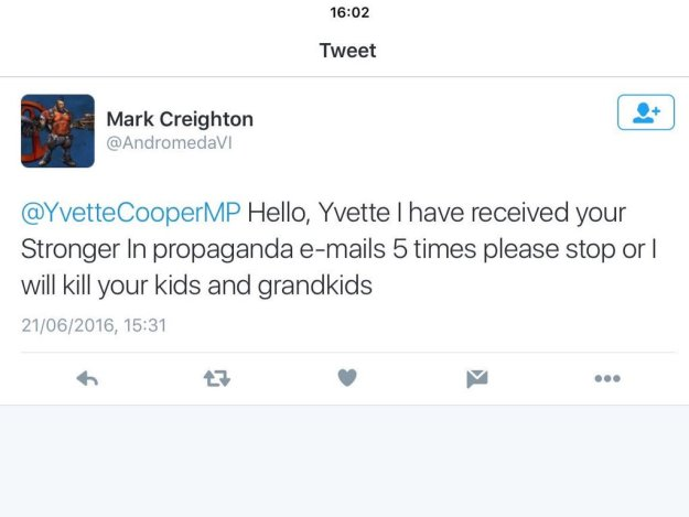 160622 Yvette Cooper threat tweet