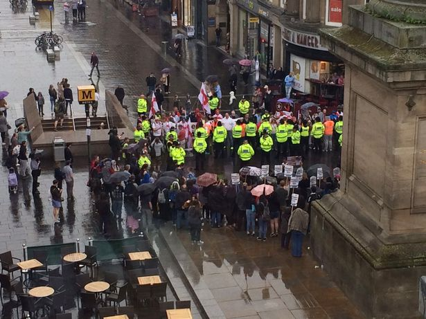 The rival demonstrators face off around the Greys Monument [Image: Isoimages].
