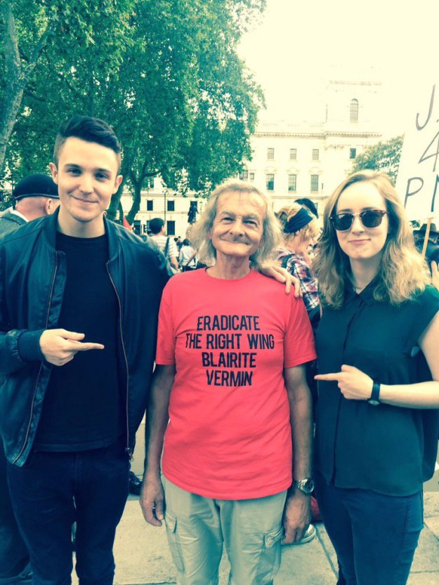 """On the left: Lewis Parker, """"creative strategist and media guru""""; on the right, Anna Phillips of Blairite pressure group Progress - at the rally in support of Jeremy Corbyn on Monday (June 27). The media were in uproar about that T-shirt - at the wrong man. Where is the anger against Hilary Benn, against Angela Eagle, against Owen Smith?"""