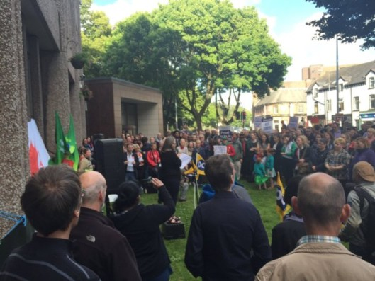 Welsh Corbyn supporters met for a rally in Cardiff on July 1.