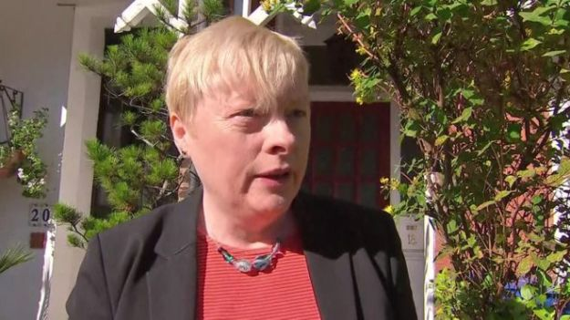 The Eagle is grounded: Angela Eagle is spending a lot of time outside her own front door. At this rate she'll never get down the road to the supermarket, let alone back onto Labour's front bench [Image: BBC].