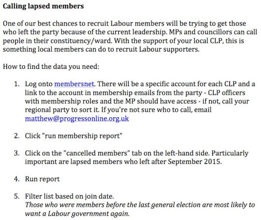 It seems members of Saving Labour are being asked to trawl through the party's data to contact lapse members - illegally.