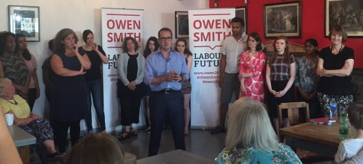 "Owen Smith launching his attack on misogyny. Twitter critics were quick to point out that he mentioned no concrete action at all, despite Jeremy Corbyn having been criticised for the same over his plan to end workplace discrimination. And then there was, ""Why are you doing that stupid legs apart stance that the Tories do?"" (To which the answer seems to be, because he is keen to join the Lynton Crosby school of style."