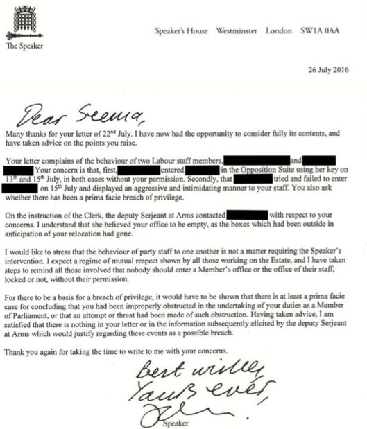 The letter from John Bercow, detailing his ruling.