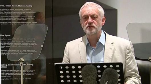 Jeremy Corbyn announces his 10 pledges to rebuild and transform Britain, at an event in Dagenham.