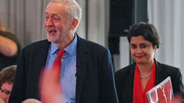 Labour leader Jeremy Corbyn with Shami Chakrabarti. She was Labour's only nomination to David Cameron's Resignation Honours list [Image: Getty].