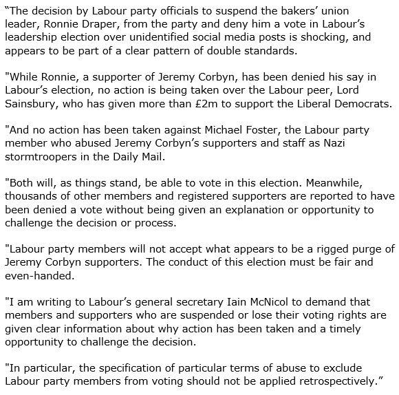 160827 McDonnell on Labour Purge