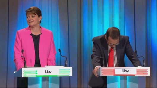 "Leanne Wood (left) - only ever invited on TV because of her ""gender"", according to Owen Smith (right). Mr Smith also thinks south Wales has been ""overrun"" by refugees from Syria, even though none have come to his Pontypridd constituency."