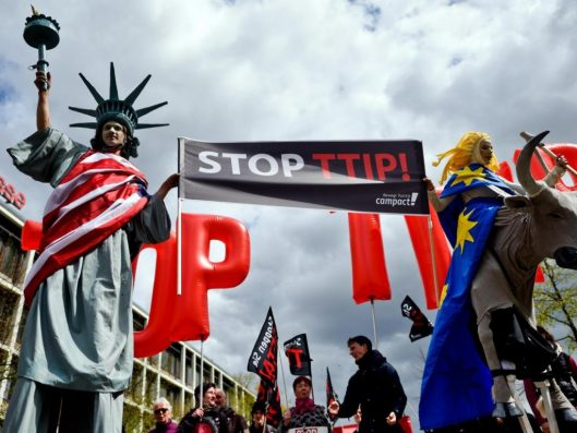 Protesters rally against the TTIP and CETA free trade agreements, April 2016 [Image: Getty].