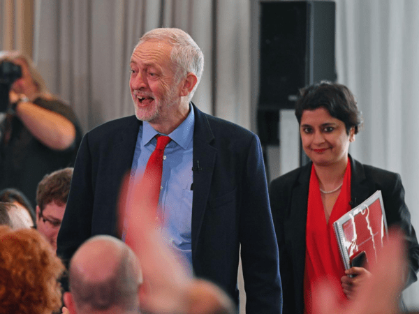 Jeremy Corbyn and Shami Chakrabarti, who published the Labour anti-Semitism report [Image: Getty].