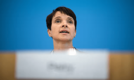 Frauke Petry poured scorn on the idea that migrants made societies more diverse [Image: Wolfgang Kumm/EPA].