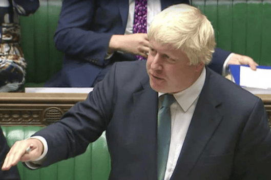 Foreign Secretary Boris Johnson in the House of Commons, London, where he spoke about the crisis in Syria [Image: Sky].