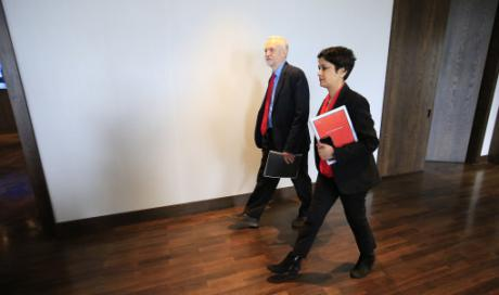 Labour Party leader Jeremy Corbyn and Inquiry chair Shami Chakrabarti arrive to deliver anti-Semitism inquiry findings, June 2016. The training session run by the Jewish Labour Movement that led to Jackie Walker's second suspension was set up by the Labour Party bureaucracy in direct contradiction of the Chakrabarti inquiry. [Image: Jonathan Brady/PA].